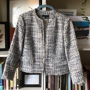 Ann Taylor cropped boxy tweed jacket